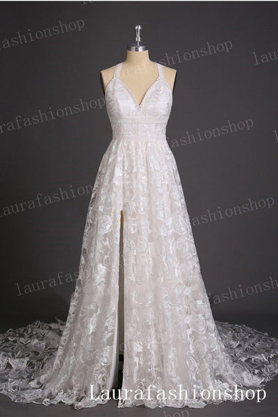 Open Back White Lace V Neck Straps Front Split Beach Wedding Dresses Bridal Dress LD2268
