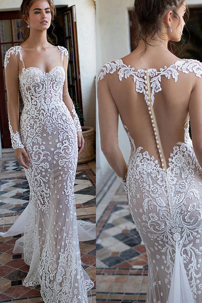 Sexy See Through Back Long Sleeves Lace Mermaid Beach Wedding Dresses Bridal Dress LD2269