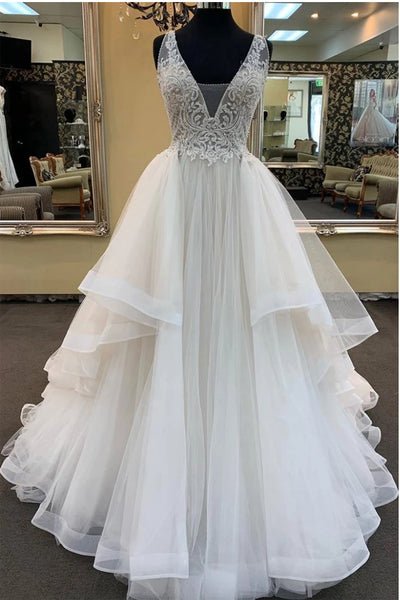 A Line Princess V Neck Tiered Skirt Lace Beach Wedding Dresses Bridal Gowns Dress LD2270