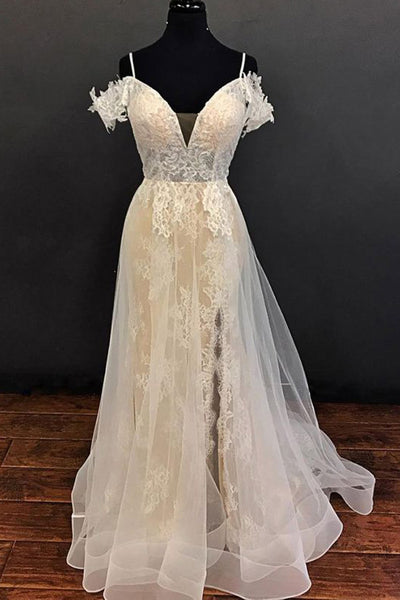 Spaghetti Straps Top See Through Lace Slit Long Beach Wedding Dresses Bridal Gowns Dress LD2277