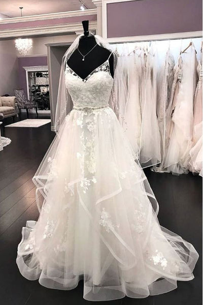 Tiered Skirt Spaghetti Straps Lace V Neck Beach Wedding Dresses Bridal Gowns Dress LD2278