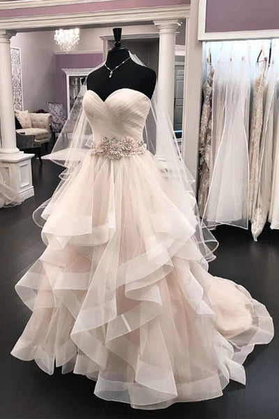 Strapless Tiered Skirt 3D Flowers Belt Long Beach Wedding Dresses Bridal Gowns Dress LD2279
