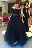 Long Sleeves Black Lace Off Shoulder Sexy Prom Dresses Evening Gowns LD230
