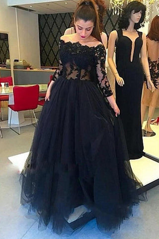 15a12fcffd6 Long Sleeves Black Lace Off Shoulder Sexy Prom Dresses Evening Gowns –  Laurafashionshop