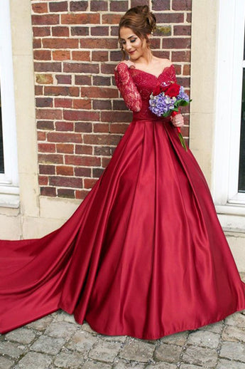 Burgundy Long Sleeves Lace Prom Dress Evening Gowns Wedding Dresses LD231