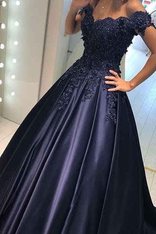 0acb4354a1 Dark Blue Lace Satin Off Shoulder Long Prom Dresses Evening Ball Gowns –  Laurafashionshop