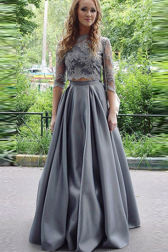 3/4 Long Sleeves Grey Lace 2 Piece High Neck Prom Dresses Evening Gowns LD235