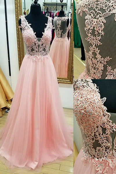Pink Lace Off Shoulder V Neck See Through Evening Prom Dress Party Gowns LD236