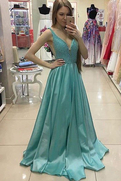 Deep V Neck Princess  Off Shoulder Long Evening Prom Dresses Party Dress LD237