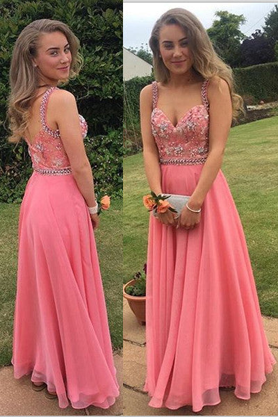 Coral Chiffon Spaghetti Straps Long Prom Dresses Party Gowns Graduation Dress LD239