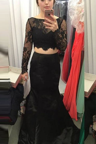 Long Sleeves Black Lace Mermaid 2 Piece Prom Dresses Evening Gowns LD240