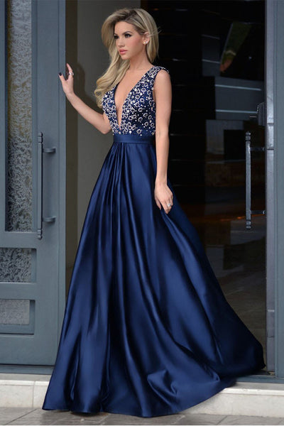 Dark Blue Satin V Neck Open Back Long Prom Dresses Evening Party Gowns LD241