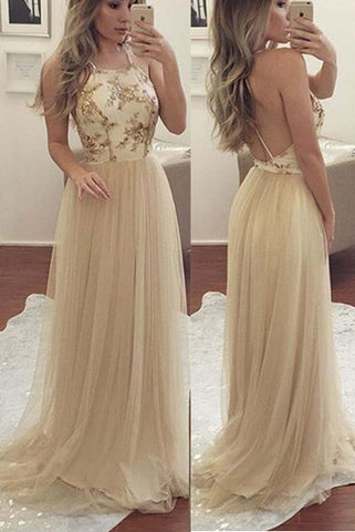 Open Back Lace Spaghetti Straps Long Prom Dresses Evening Gowns LD242