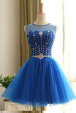 Blue Tulle High Neck Beads Short Prom Dresses Homecoming Dress Party Gowns LD243
