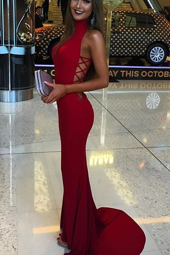 New Arrival Red Mermaid Prom Dresses,High Neck Long Elegant Prom Dress Evening Gowns LD248