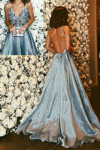 2019 New V Neck Backless Long Prom Dresses Party Gowns Sweet 16 Dress For Teens LD249
