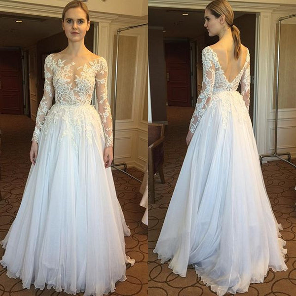 Sexy See Through Long Sleeves Backless Lace Beach Bridal Wedding Dress LD251