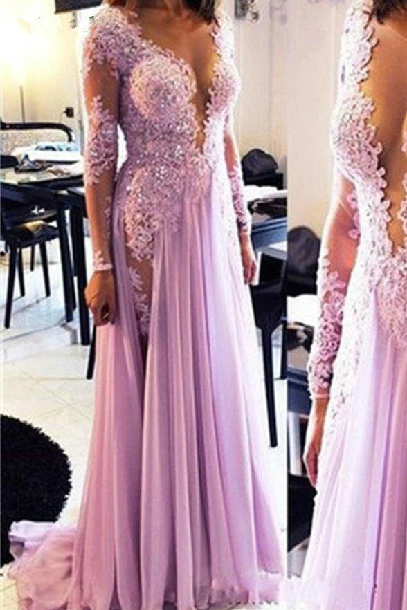 New Long Sleeves Deep V Neck Lace Slit Prom Dresses Evening Gowns LD252