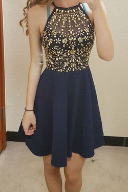 Navy Blue Halter Short Prom Dress Homecoming Dresses Custom Made Party Gowns LD253