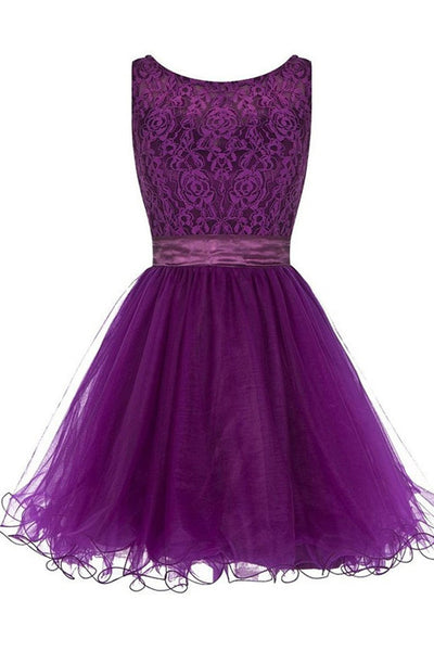 Off the Shoulder Purple Lace Short Cheap Homecoming Dresses Cocktail Dresses LD254