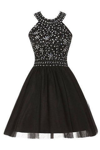 Open Back Black Tulle Beaded High Quality Short Homecoming Dresses Graduation Dress LD255
