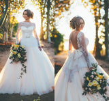 A Line Princess Long Sleeves Lace Open Back High Quality Wedding Dresses Bridal Gowns LD256