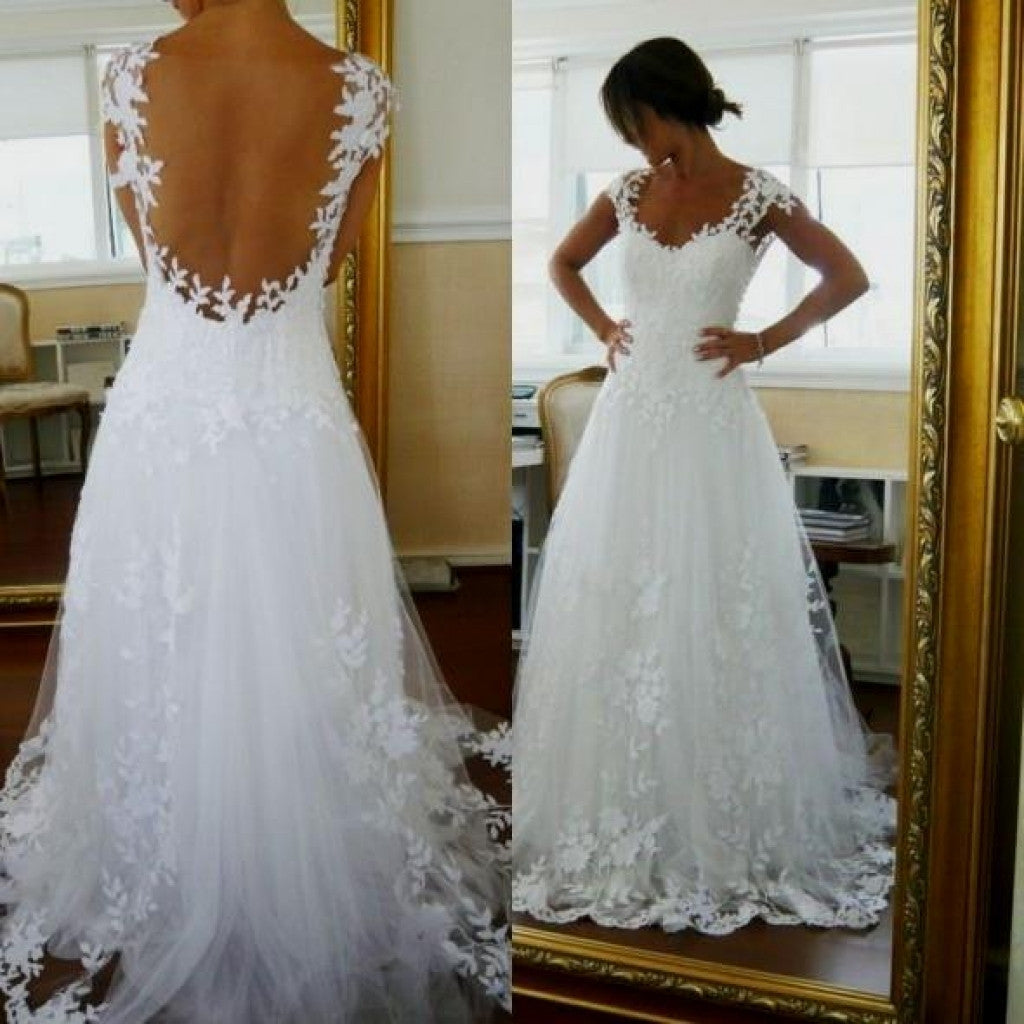 Bridal Gowns With Lace Cap Sleeves: Lace See Through Cap Sleeves High Quality Wedding Dresses
