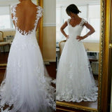 White Lace See Through Back Cap Sleeves High Quality Wedding Dresses Bridal Gowns LD257
