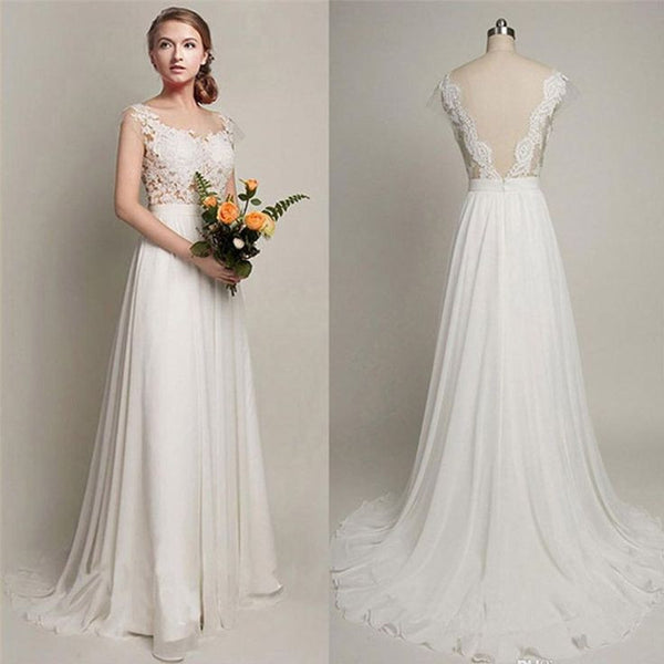 Back V Cap Sleeves Lace Cheap High Quality Beach Bridal Gowns Wedding Dresses LD258