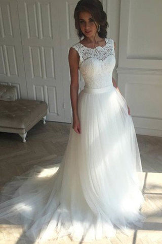 White Lace Tulle Off the Shoulder Back V Bridal Gowns Wedding Dresses LD260