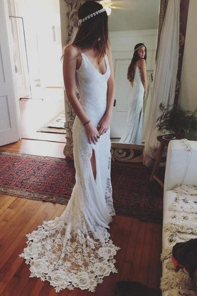 New Spaghetti Straps Mermaid Backless Lace Bridal Gowns Wedding Dresses LD265