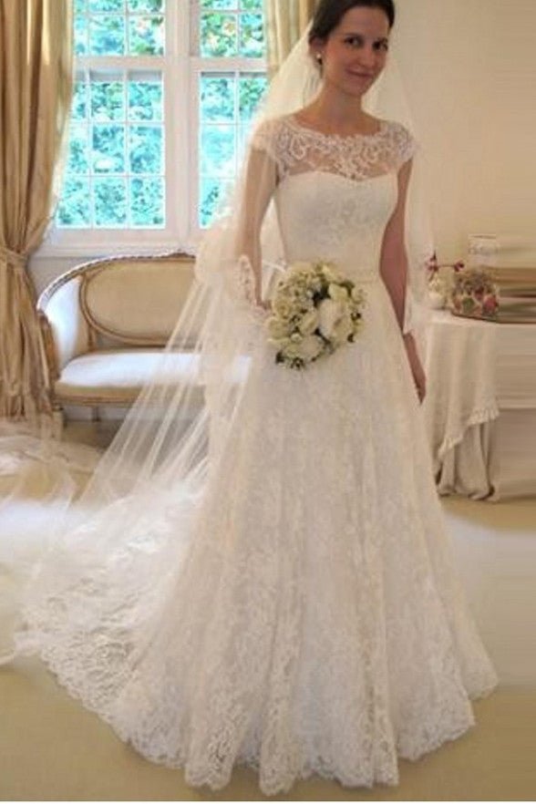 Cap Sleeves A Line Ivory Lace Romantic Wedding Dresses Bridal  Gowns LD266