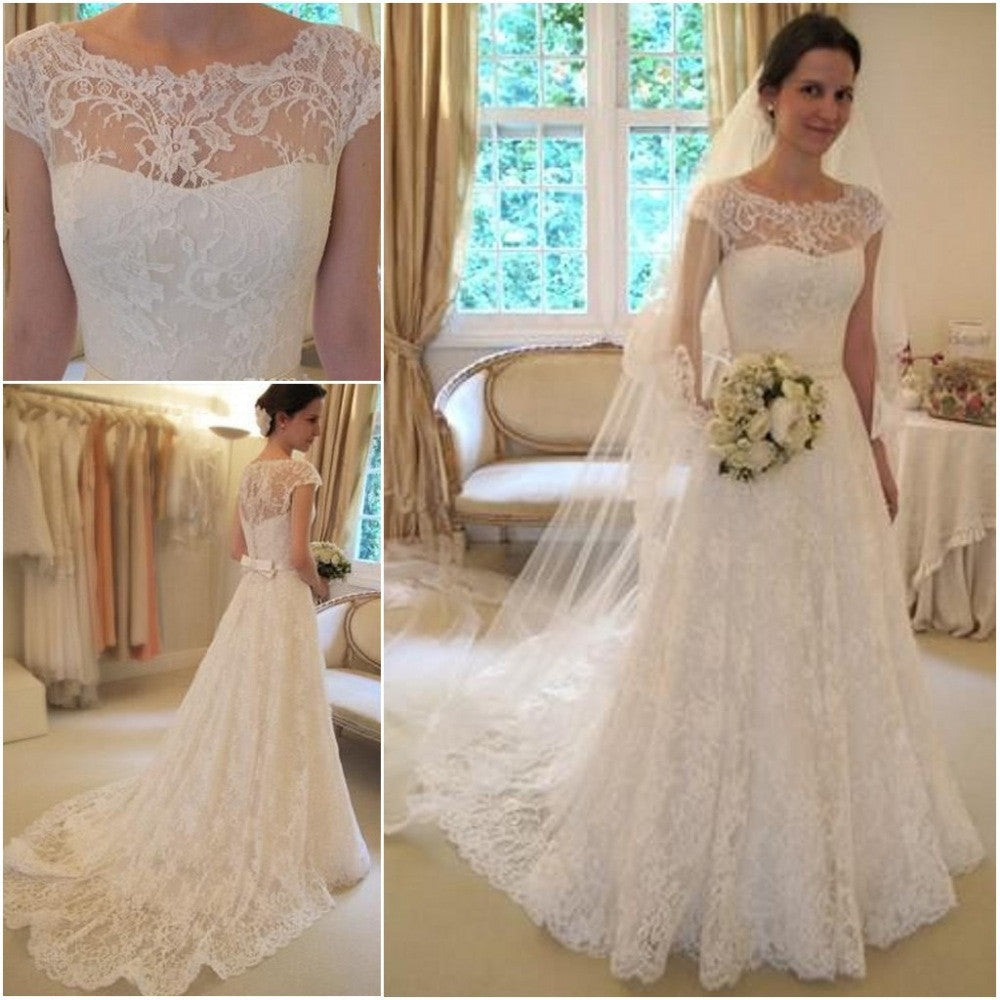 Lace Wedding Dresses With Cap Sleeves: Cap Sleeves A Line Ivory Lace Romantic Wedding Dresses