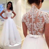 See Through Back Cap Sleeves Lace V Neck Wedding Dresses Bridal  Gowns LD267
