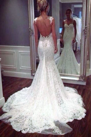 lace mermaid wedding dress with strapes
