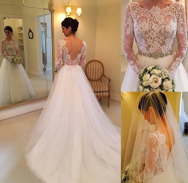 Romantic Long Sleeves Back V Lace Chapel Bridal Gown Wedding Dresses LD269