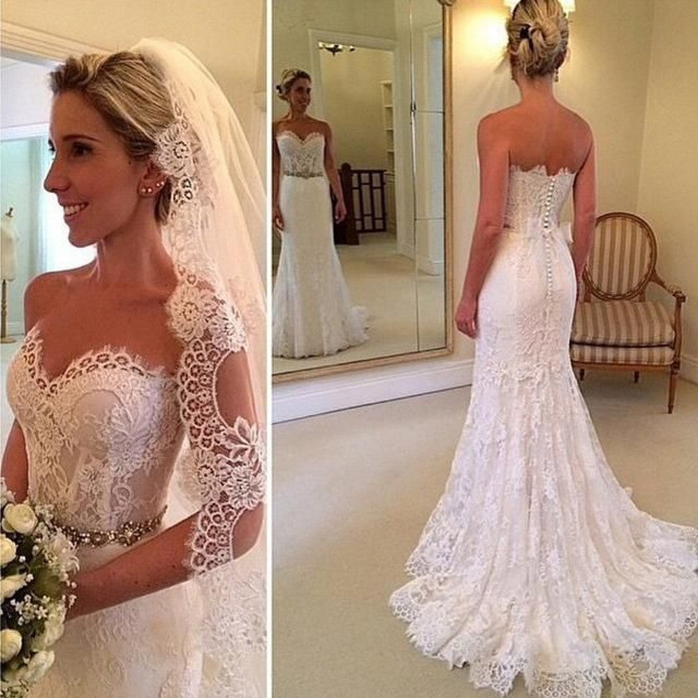 Mermaid Lace Wedding Gown: Sweetheart Lace Mermaid Wedding Dresses Bridal Gown With