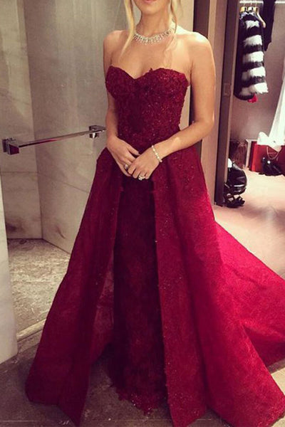 Princess Sweetheart Burgundy Lace Prom Dress Evening Party Gowns LD274