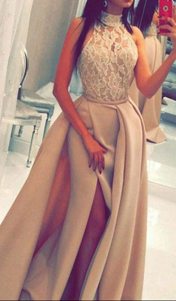 New Arrival High Neck Front Slit Long Prom Dresses Evening Party Gowns LD275