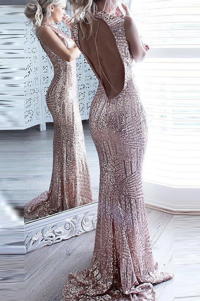 Shiny Rose Pink Sequin Mermaid Backless Prom Dress Evening Gowns Dresses LD276