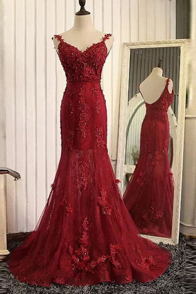 Burgundy Lace Mermaid Prom Dresses Spaghetti Straps Evening Gowns 2017 LD277