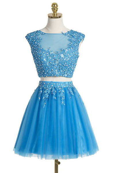 2 Pieces Cap Sleeves Blue Lace Short Prom Dress Homecoming Dresses LD279