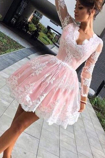 Long Sleeves White Lace Pink Short Prom Dress Homecoming Dresses For Party LD283