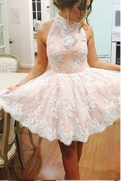 High Neck Light Pink Lace Back O Short Prom Dresses Party Homecoming Dress LD284