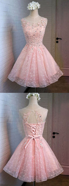 Charming Pink Lace Homecoming Dresses Graduation Dress,Short Prom Dresses Party Gowns LD287