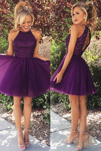 Purple High Neck Back O Short Prom Dresses Homecoming Dress for Party  LD290