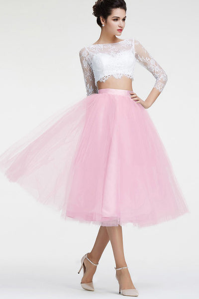 Long Sleeves 2 Pieces White Pink Prom Dress Homecoming Dresses for Party  LD292