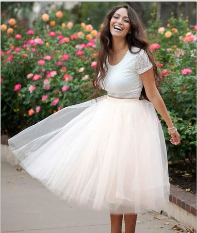 f52d2e88f218 ... Short Sleeves 2 Piece Tea Length Prom Dress Homecoming Dresses for Party  LD293 ...