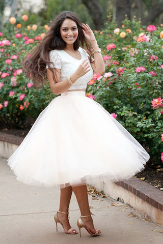 Short Sleeves 2 Piece Tea Length Prom Dress Homecoming Dresses for ...
