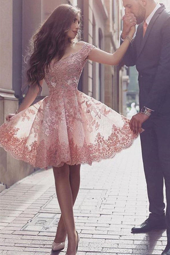 Off the Shoulder Blush Pink Lace Short Prom Dress Fashion Homecoming Dresses LD294